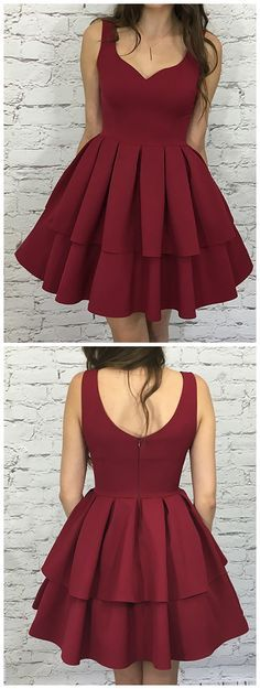 simple burgundy party dresses,tiered short homecoming dress,zipper back prom dresses,satin dress for teens