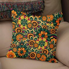 """This soft pillow is an excellent addition that gives character to any space. It comes with a soft polyester insert that will retain its shape after many uses, and the pillow case can be easily machine washed. • 18""""x18"""" • Machine washable cover • Concealed zipper • Printed on both"""