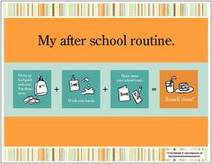 After school routine chart.  Illustrations are very helpful for kids especially ones with adhd and processing disorders.