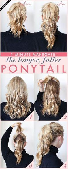 Des cheveux pas assez longs ? Aucun problème, cette coiffure est parfaite pour vous. Commencez par boucler vos cheveux et divisez-les en deux. Vous obtiendrez ce look incroyable.