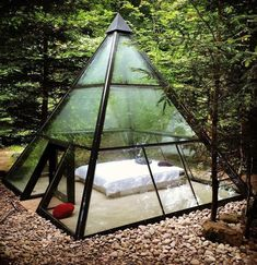 Glamping tent in form of a glass pyramide in France Design Exterior, Interior And Exterior, Room Interior, Outdoor Spaces, Outdoor Living, Outdoor Bedroom, Outdoor Gear, Future House, Architecture Design