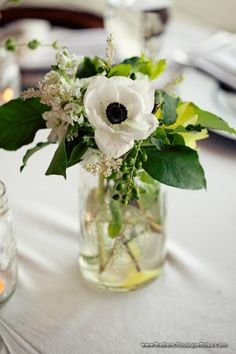 Eco-Chic Mason Jar Centerpiece of Anemone, Stock and Local Grasses and Greenery - The French Bouquet - LSD Photography