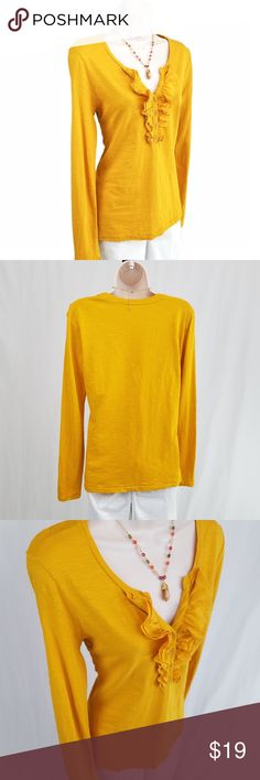 LOFT ruffled slub knit top / tee Long sleeved v-neck slub knit top in marigold yellow featuring ruffle detail at the neckline.    Bust 18 / length 25 inches (unstretched).  100% cotton. LOFT Tops Tees - Short Sleeve