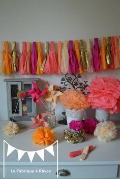 12 pompons papier soie rose fuchsia abricot pêche corail doré - décoration thème bollywood - décoration mariage - décoration chambre enfant - accessoires photobooth