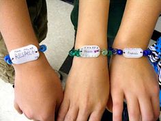 Anti-Bullying bracelets - nice idea - kids can capture the idea that strikes them the most