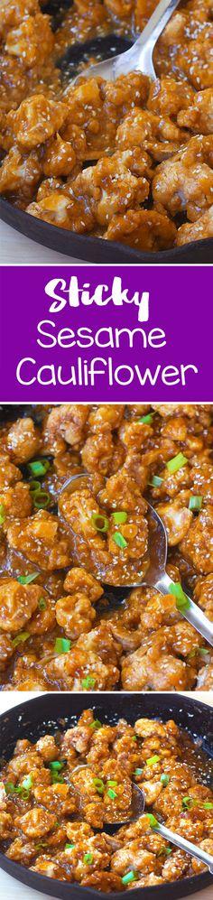 Sticky Sesame Cauliflower. The sauce is so addictive!!