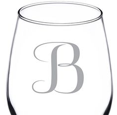 (B-Monogram) 12.75 Ounce Engraved Wine Glass- High Quality Elegant Glass Great for Drinking Red or White Wine in Style- Perfect Gift for any Special Occasion- By: On The Rox Review