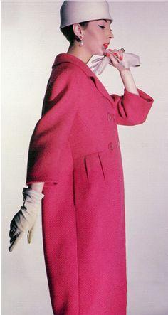 Renée Breton in sculptural geranium tweed, Ben Zuckerman, photo Louise Dahl-Wolfe 1958