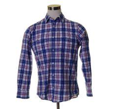 BANANA REPUBLIC White Blue Grape Purple Plaid Square Button Cotton Dress Shirt M
