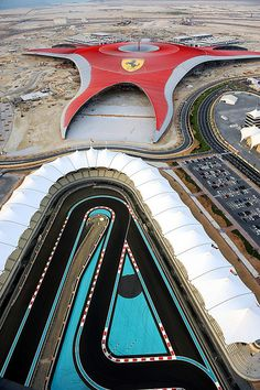 Ferrari World on Yas Island beside the Yas Marina Circuit, racetrack for Formula 1™ in Abu Dhabi, UAE