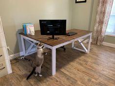L Shaped Double X Desk - Handmade Haven Diy Office Desk, Diy Computer Desk, Diy Crafts Desk, Craft Desk, Diy Furniture Plans, Diy Furniture Projects, Pipe Furniture, Furniture Vintage, Furniture Design