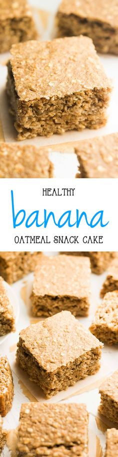 Healthy Banana Oatmeal Snack Cake — only 101 calories! Perfect for guilt-free b… Healthy Banana Oatmeal Snack Cake — only 101 calories! Perfect for guilt-free breakfasts too! Healthy Cake, Healthy Dessert Recipes, Healthy Baking, Cupcake Recipes, Healthy Desserts, Delicious Desserts, Snack Recipes, Eating Healthy, Cupcakes