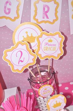 Princess Dress Up Party - Pink and Gold | CatchMyParty.com Pink And Gold Birthday Party, Gold Party, 1st Birthday Girls, 2nd Birthday Parties, Diy Birthday, Pink And Gold Dress, Girl Birthday Decorations, Party Shop, Party Ideas