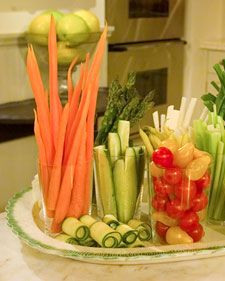 Veggies : fun party idea... serve a bit of ranch in the bottom of one of those nice disposable kinda plastic tumblers and add pepper/carrot/celery sticks. Kids will love that they are easy to carry and tasty, you will love them because it's healthy.