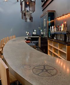 Concrete bartop with metal accents