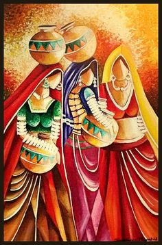Sabeen Rashid painting Oil on canvas Indian Art Paintings, Modern Art Paintings, Acrylic Painting Canvas, Beautiful Paintings, Rajasthani Painting, Rajasthani Art, Madhubani Art, Madhubani Painting, Drawing Drawing