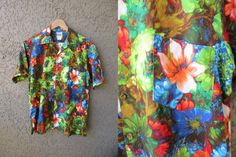 Evelyn Margolis Barkcloth Hawaiian Shirt Multi by GeekGirlRetro