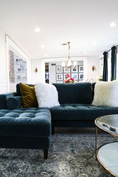 A corner blocked wooden frame and slim walnut legs and loose bolsters and back cushions makes for a sturdy and stylish move-watching companion. Photo by classy clutter. Furniture Direct, High Quality Furniture, Living Room Decor, Living Spaces, Living Rooms, Blue Sectional, Sofas, Pacific Blue, Home And Living
