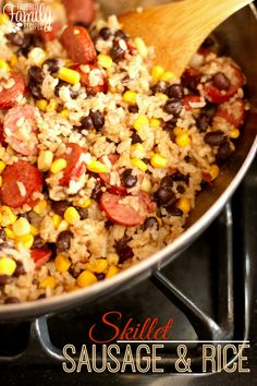 This skillet sausage and rice is a fast and delicious recipe for busy nights. Easy to throw together and cooks up fast all in one skillet, simple clean-up!