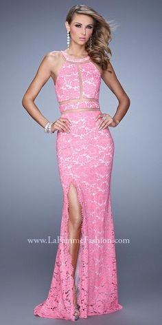 La Femme Sheer Inset All Lace Halter Prom Gown