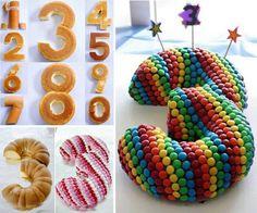 Les étapes à suivre pour faire des gâteaux avec les nombres! Avec un moule rond et un moule rectangulaire, vous pourrez faire tous les nombre sans avoir à acheter un moule pour chaque nombre. Vous n'aurez qu'à suivre les étapes de la deuxième photo p