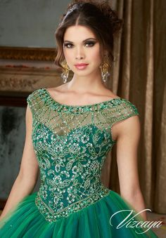 Morilee Vizcaya Quinceanera Dress 89104 JEWELED BEADING ON A LAYERED TULLE BALL GOWN  Matching Stole. Available in Kelley Green/Navy, Fuchsia/Deep Purple (Color of this dress): Kelley Green/Navy