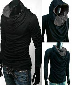 ์ำNew lady men Black turtle COWL Neck Hood shirt gym top size S M L XL XXL | eBay