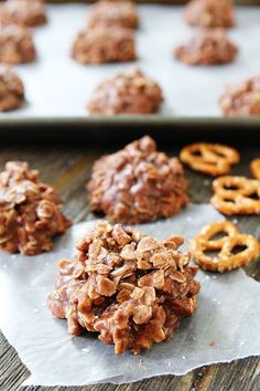 No-Bake Chocolate Peanut Butter Pretzel Cookies Recipe on http://twopeasandtheirpod.com The easiest cookies you will ever make and SO good! #cookies