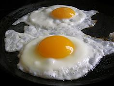 Fried eggs on top