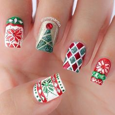 Newest Christmas Nail Ideas for Christmas Sweater Nail Art Designs Ideas; easy and cute Christmas nails; Cute Christmas Nails, Christmas Manicure, Holiday Nail Art, Xmas Nails, Christmas Nail Art Designs, Winter Nail Art, Christmas Patterns, Christmas Design, Christmas Night
