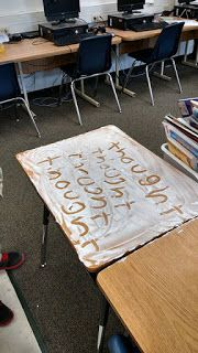 Use shaving cream to reinforce learning in any subject (and clean your desks at the same time!)
