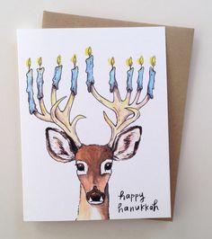 Items similar to Happy Hanukkah Menorah Deer Antler Holiday Card on Etsy Feliz Hanukkah, Hanukkah Crafts, Hanukkah Decorations, Hanukkah Menorah, Diy Birthday Decorations, Christmas Hanukkah, Hannukah, Happy Hanukkah, Hanukkah 2019