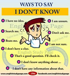 Other ways to say I don't know english. Other ways to say I don't know in Learn English Speaking, English Learning Spoken, Learn English Grammar, English Writing Skills, Learn English Words, English Language Learning, English Study, Education English, English Lessons