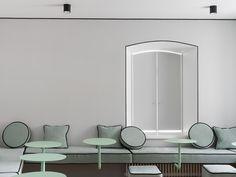 Mia Yoga Studio Moscow by Crosby Studios Commercial Interior Design, Commercial Interiors, Parisian Bathroom, Yoga Studio Design, Boutique Interior Design, Cafe Style, Cafe Interior, Yoga Studio Interior, Hospitality Design