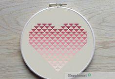 geometric modern cross stitch pattern heart by Happinesst on Etsy