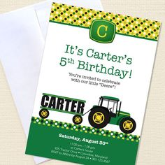 cute tractor invites...might use these for Nate's bday