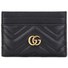 Gucci GG Marmont Quilted Leather Cardholder (905 RON) ❤ liked on Polyvore featuring bags, wallets, black, fillers, quilted leather bag, gucci, quilted leather wallet, gucci bags and gucci wallet