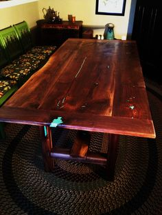 Turquoise inlayed farm table