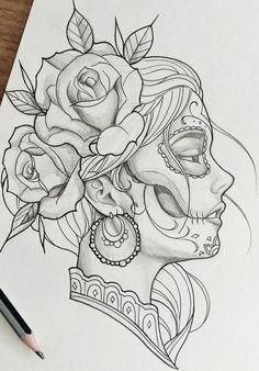 Dark Art Drawings, Art Drawings Sketches Simple, Pencil Art Drawings, Beautiful Drawings, La Muerte Tattoo, Catrina Tattoo, Tattoo Design Drawings, Tattoo Sketches, Tattoo Designs