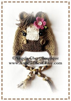 PONY HORSE Crochet Hat maybe made for kids but I want one for me!!!! In palomino please!!!