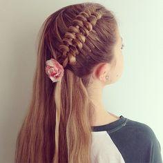Dutch infinity braid on for 🌸 Creative Hairstyles, Trendy Hairstyles, Braided Hairstyles, Schmidt, Anna Hair, Different Hairstyles, Little Girl Hairstyles, Hair Dos, Hair Designs
