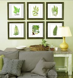 Set of 6 Fern Prints Green Antique Botanical Victorian Art Wall Hanging #UnframedPrintsbyGnosisPictureArchive #Vintage