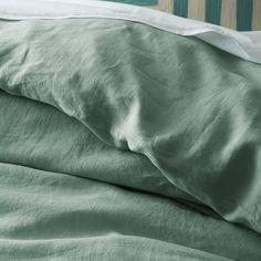 Belgian Linen Duvet Cover + Shams - Peacock | west elm