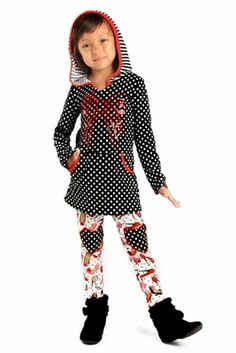 "Haven Girl ""Heels are a Girls Best Friend"" Dotted Hoodie Tunic & Legging 2pc SetSizes 4 - 14 - click to enlarge"