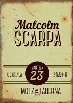 """Cartel Malcolm Scarpa """"Motz taberna"""" por Cristina"""