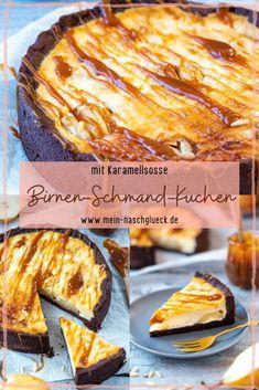 Hier findest du ein einfaches Rezept für einen cremigen Birnen-Schmand-Kuchen mit feinem Schokomürbteig und einer selbstgemachten Karamellsoße #birnenkuchen #schmandkuchen