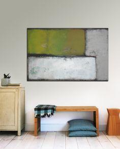 Large Abstract Schilderij  Green and Grey van RonaldHunter op Etsy, $289.00