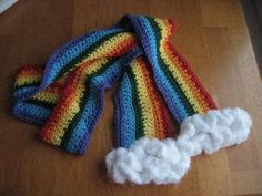 rainbow knitted scarf