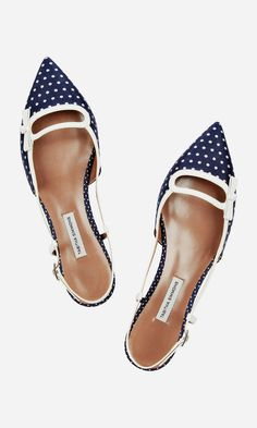 Navy & White Spotted Flats