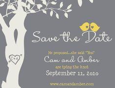 Custom Love Birdies Save the Date Card - Printable Digital File - DIY Wedding. $25.00, via Etsy.